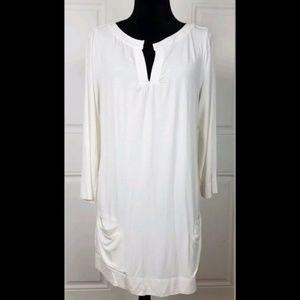 Soft Surroundings White Tunic Long Sleeve Pockets